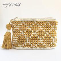 עושה עיניים - ארנק סרוג בשתי מסרגות    Osa Einaim -knitted purse - mosaic blanket pattern